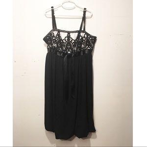 Jessica McClintock Black & White Lace Formal Dress